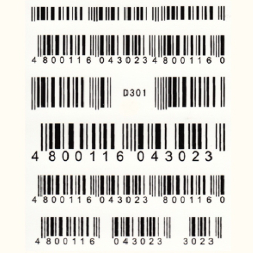 BB Nail Sticker D301 Black Barcode